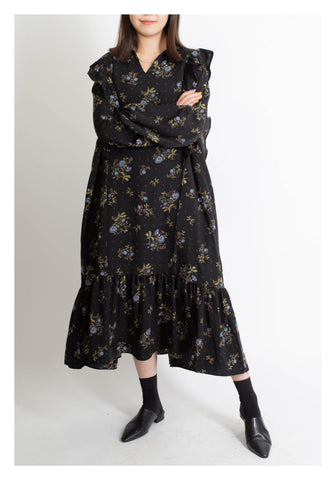 Floral Pattern Tiered Dress Dark - whoami