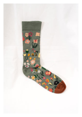 Flower Pattern Socks Cedar - whoami