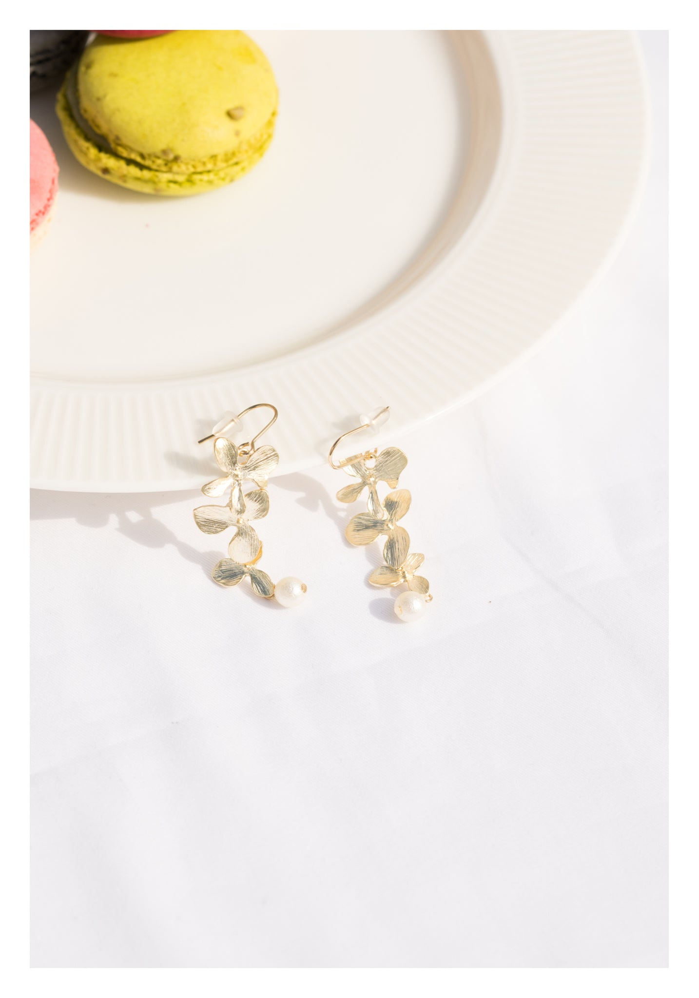 Flower String Pearl Earrings