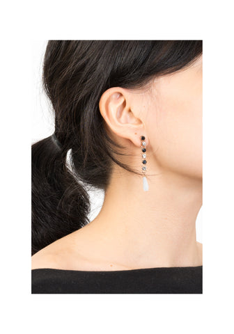 Mixed Gem Chain Long Earrings
