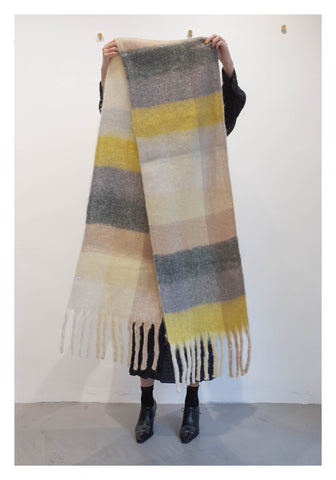 Fluffy Checker Scarf Yellow - whoami