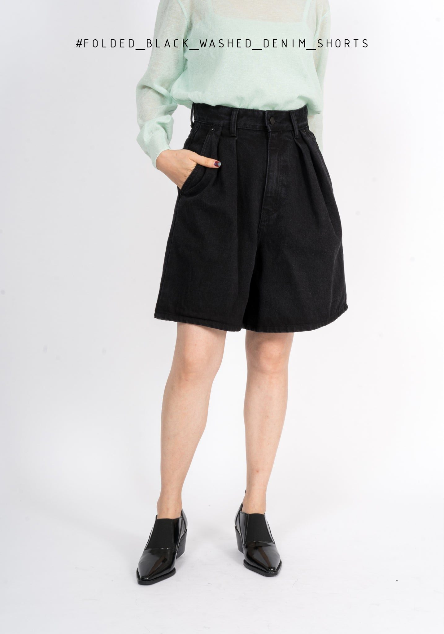 Folded Black Washed Denim Shorts - whoami