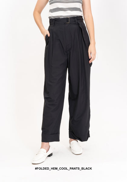 Folded Hem Cool Belt Pants Black
