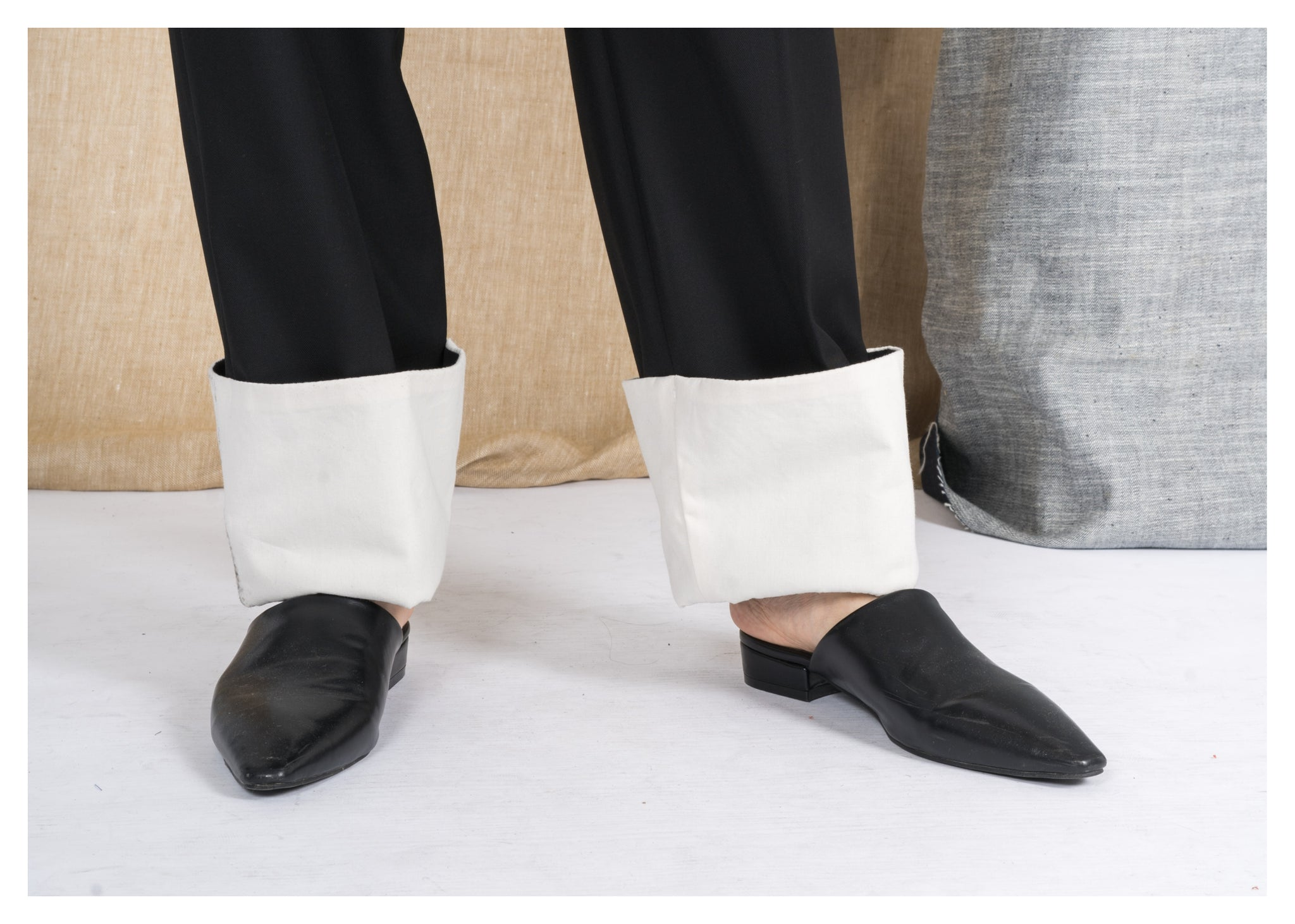 Folded Hem Suit Pants