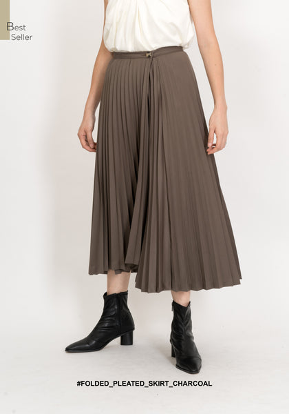 Folded Pleated Skirt Charcoal - whoami