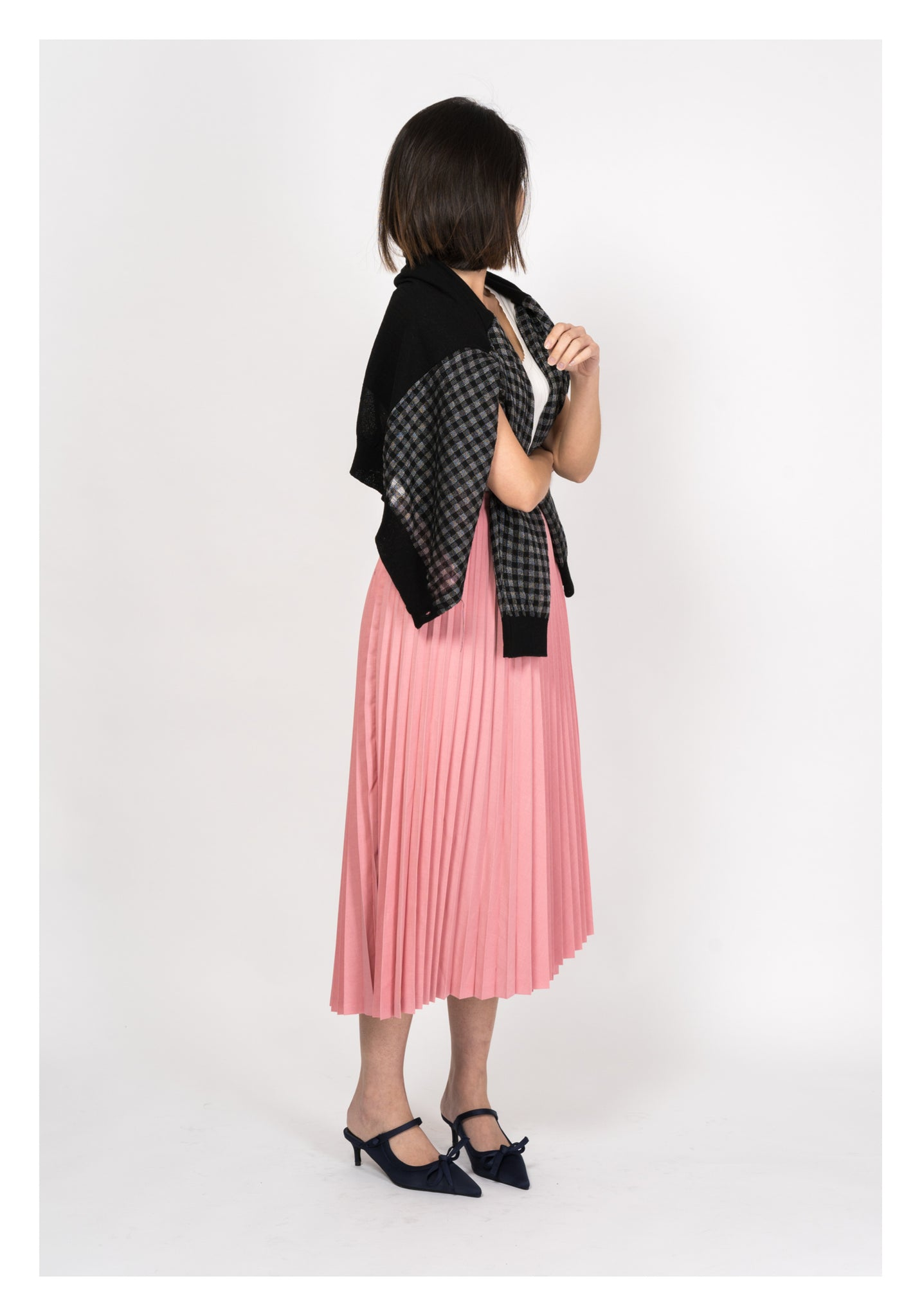 Folded Pleated Skirt Pink