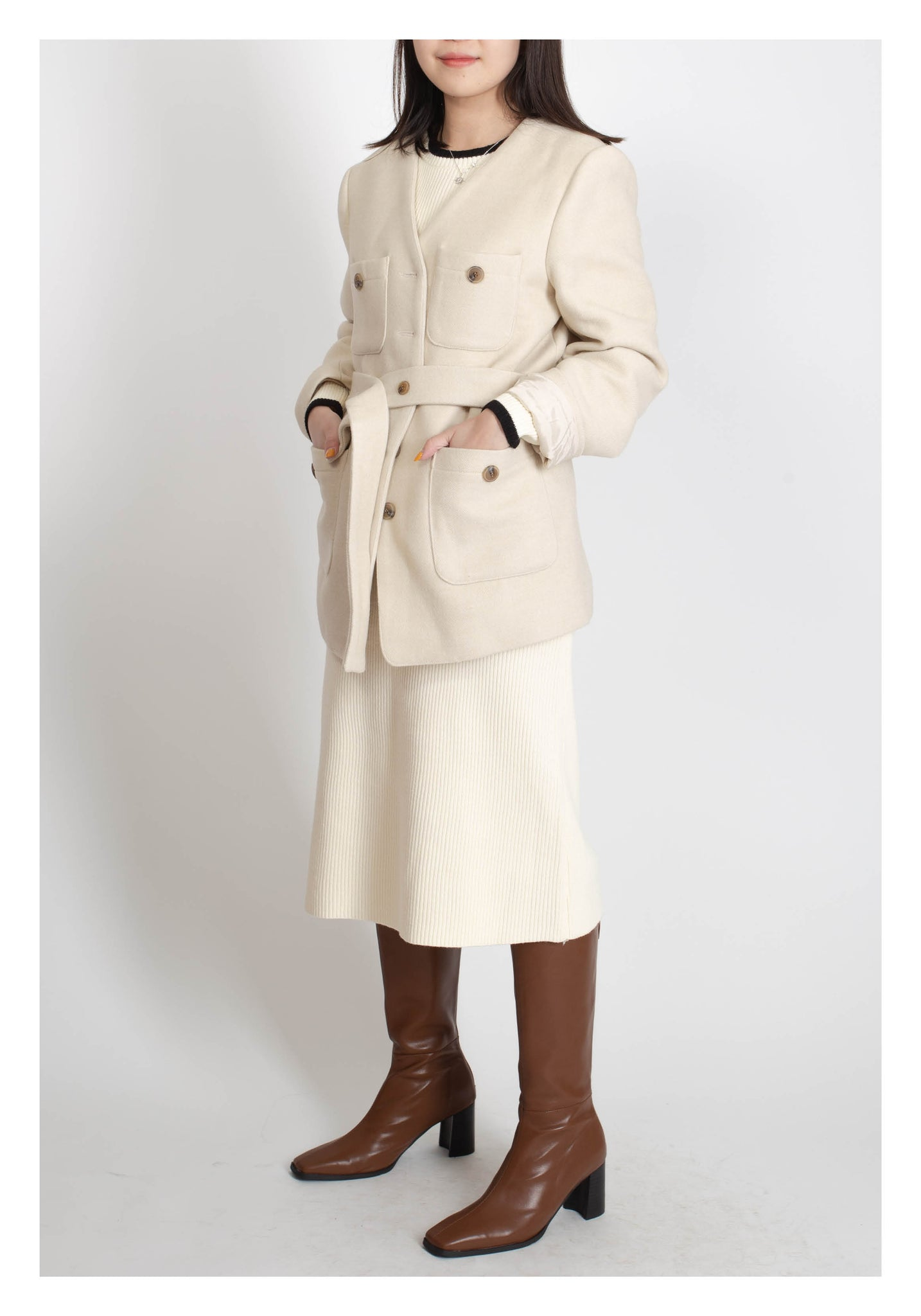 Tie Button Four Pockets Coat Ivory - whoami
