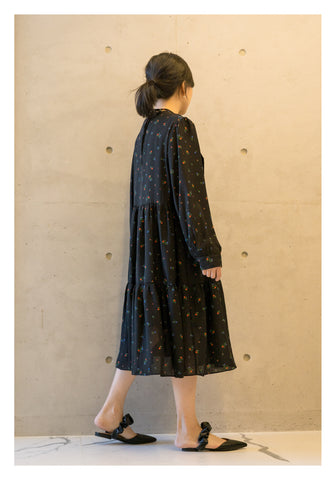 French Country Dress Black