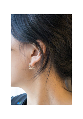 925 Silver Thin Hoop And Bar Earrings - whoami