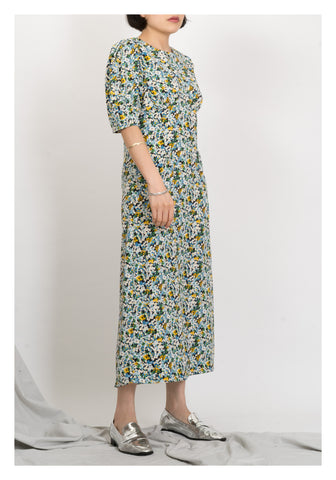 Front Pocket Floral Dress Green - whoami