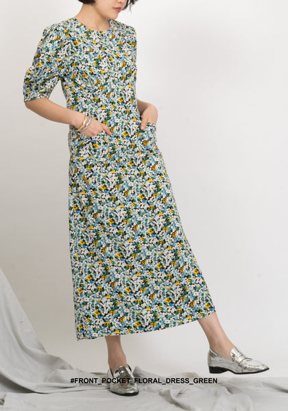 Front Pocket Floral Dress Green