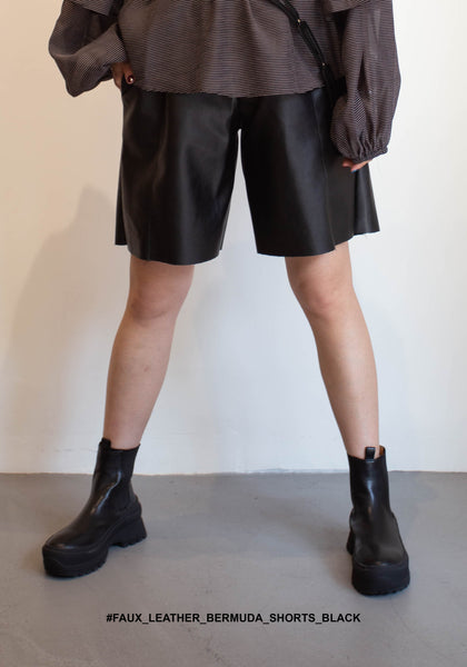 Faux Leather Bermuda Shorts Black - whoami