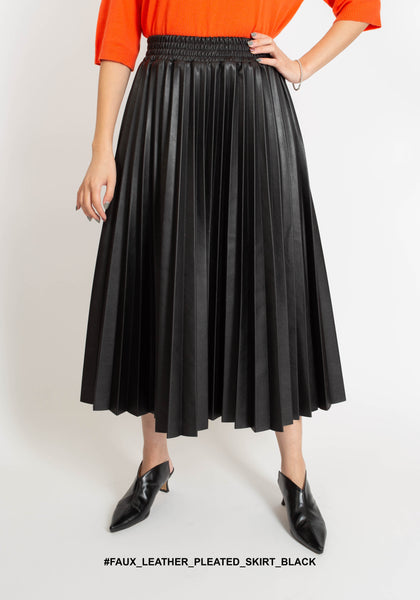 Faux Leather Pleated Skirt Black - whoami