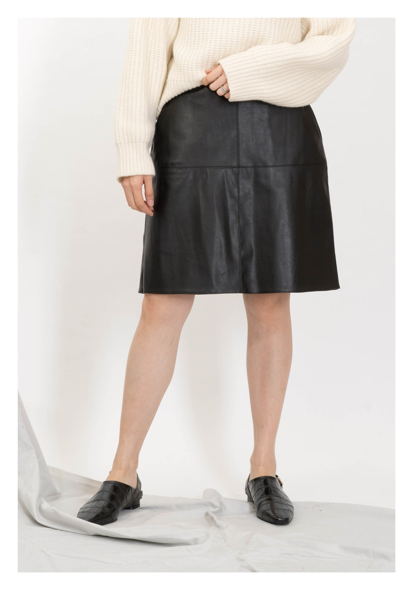 Faux Leather Cross Stitch Short Skirt - whoami