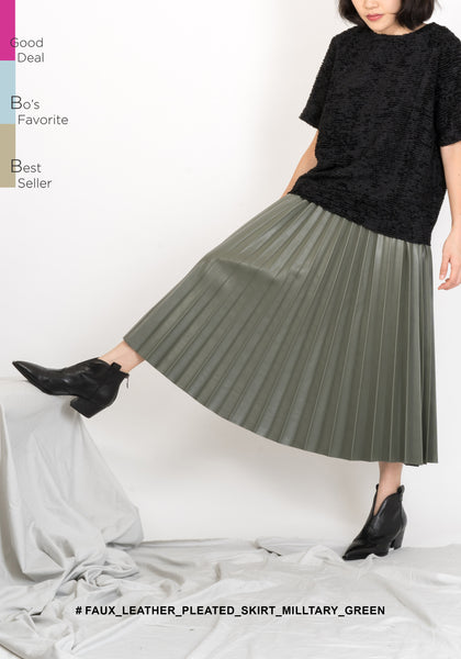 Faux Leather Pleated Skirt Military Green