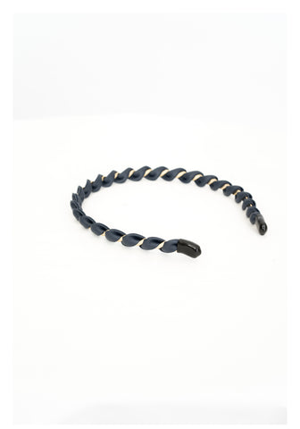 Faux Leather Twist Headband Navy - whoami