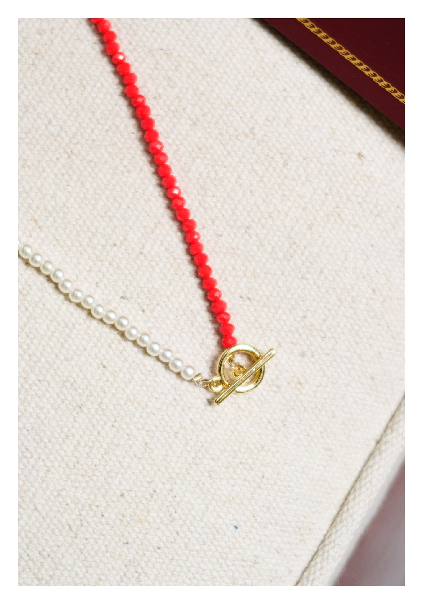 Faux Pearl And Red Gem Necklace - whoami