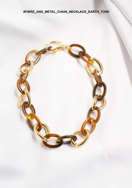 Fibre And Metal Chain Necklace Earth Tone - whoami