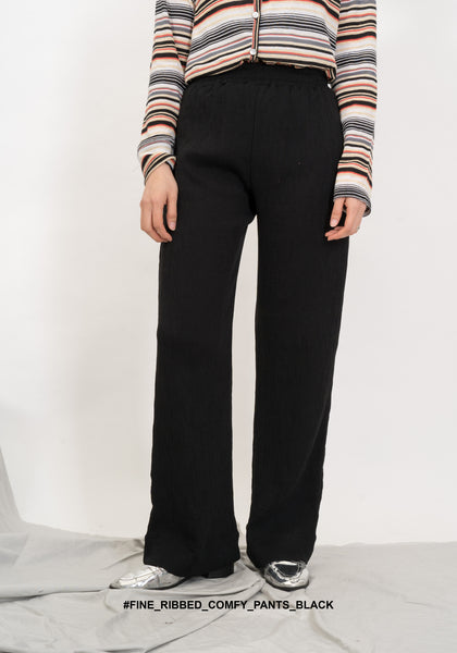 Fine Ribbed Comfy Pants Black - whoami
