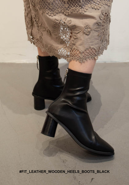 Fit Leather Wooden Heels Boots Black - whoami