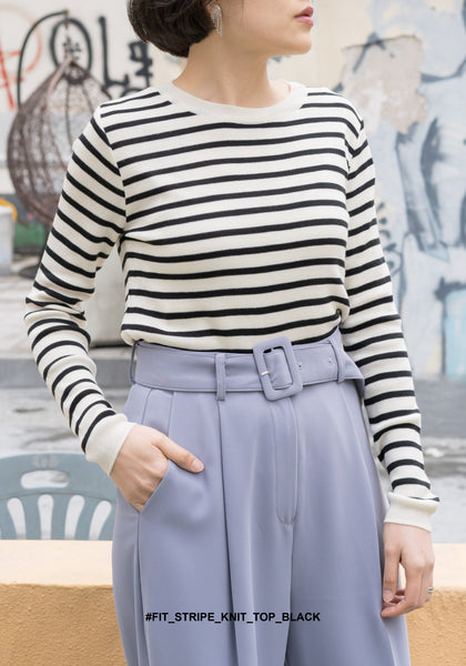 Fit Stripe Knit Top Black