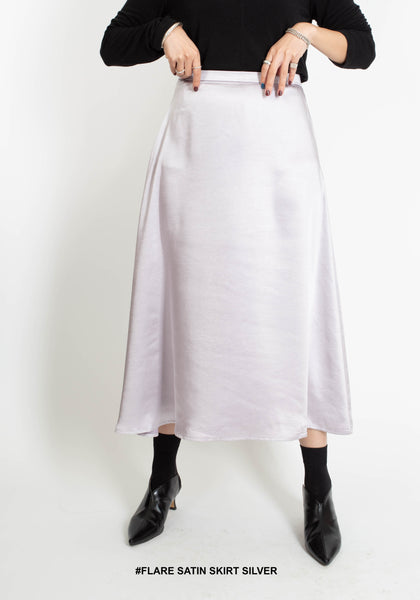 Flare Satin Skirt Light Lavender - whoami