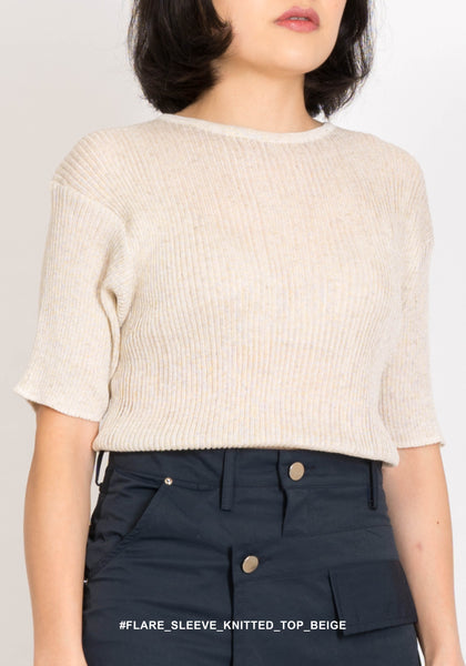Flare Sleeve Knitted Top Beige - whoami