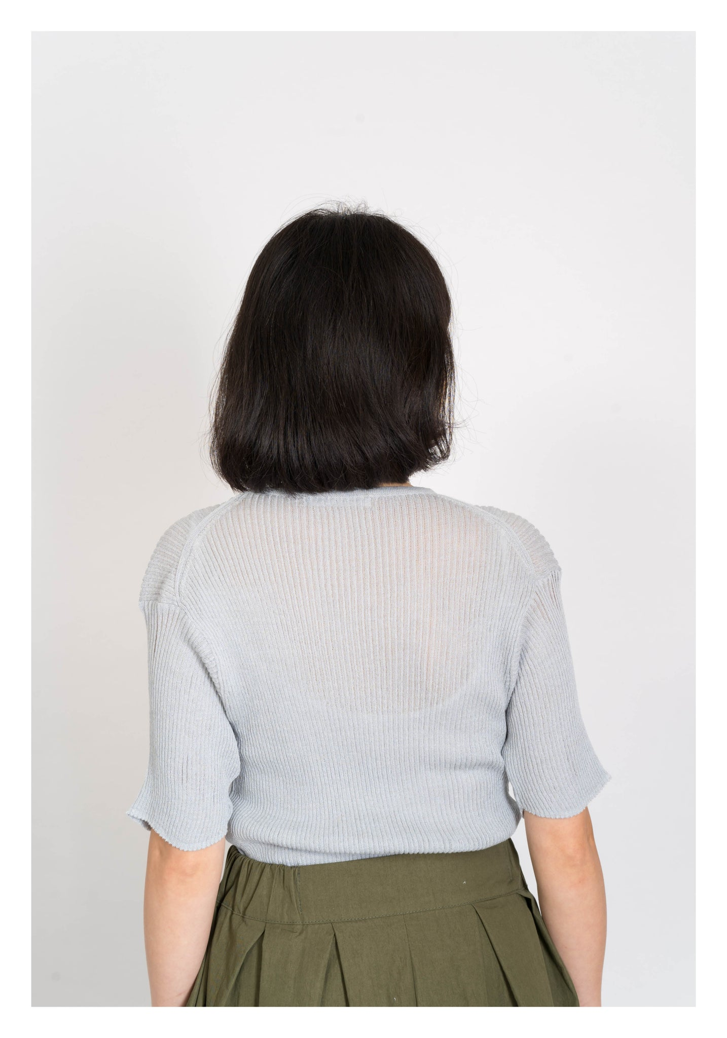 Flare Sleeve Knitted Top Grey - whoami