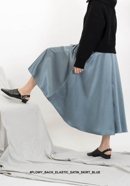 Flowy Back Elastic Satin Skirt Blue