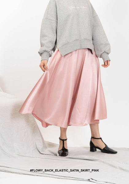 Flowy Back Elastic Satin Skirt Pink