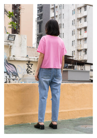 Folded Sleeve Cropped Tee Pink - whoami