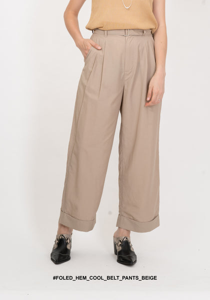 Folded Hem Cool Belt Pants Beige