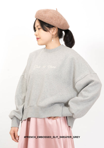 French Embossed Slit Sweater Grey - whoami