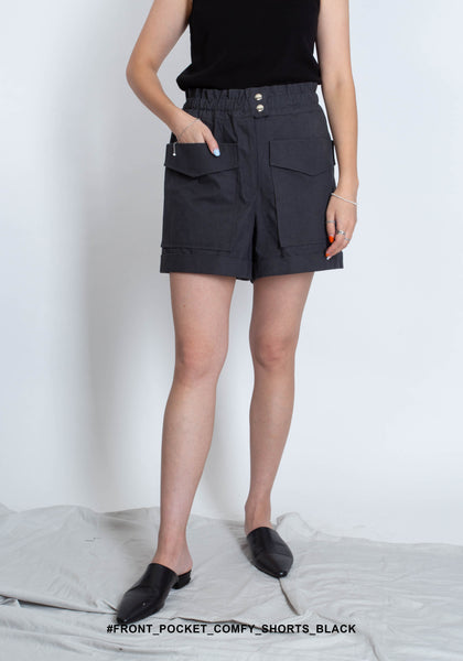 Front Pocket Comfy Shorts Black - whoami