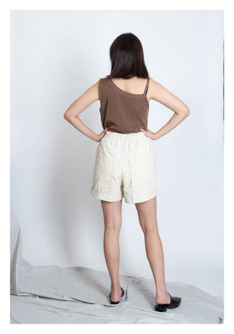 Front Pocket Comfy Shorts Ivory - whoami