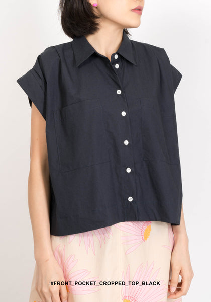 Front Pocket Cropped Top Black