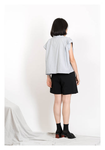 Front Pocket Cropped Top Grey