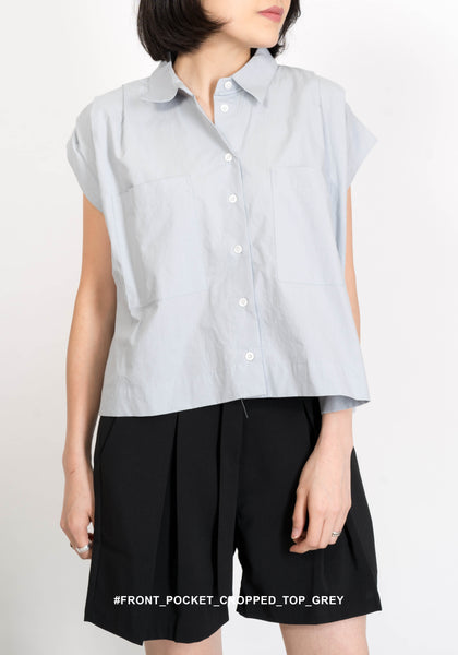 Front Pocket Cropped Top Grey - whoami
