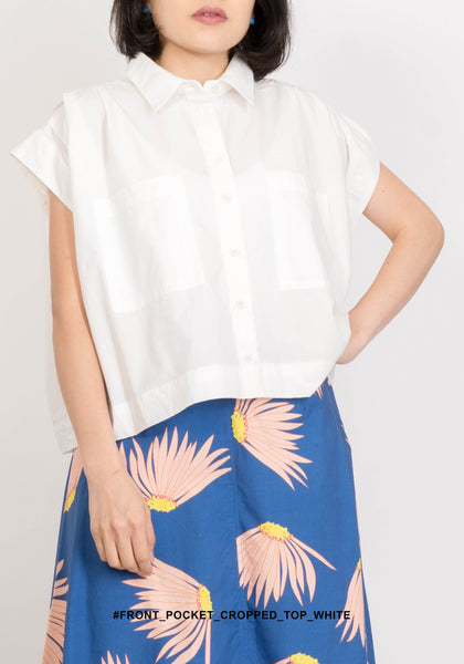 Front Pocket Cropped Top White
