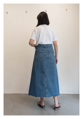 Front Slit Midi Denim Skirt - whoami