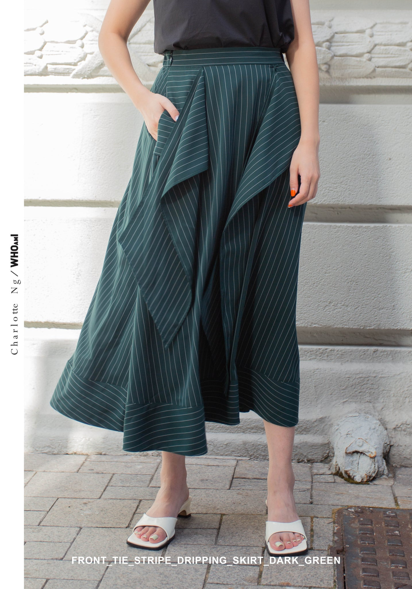 Front Tie Stripe Dripping Skirt Dark Green - whoami