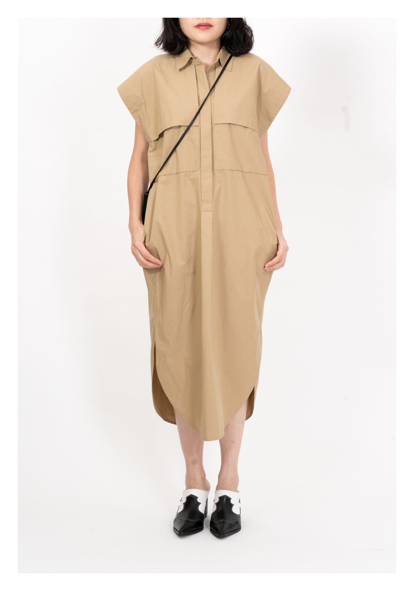 Front Pocket Shirt Dress Khaki