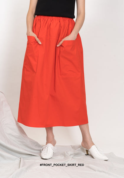 Front Pocket Skirt Red