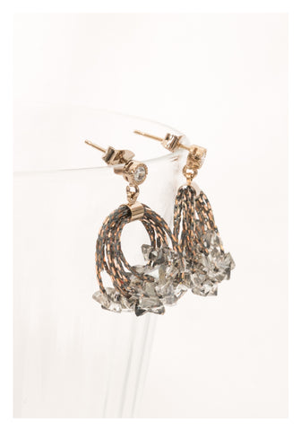 Gem And Chain Layers Earrings Grey - whoami