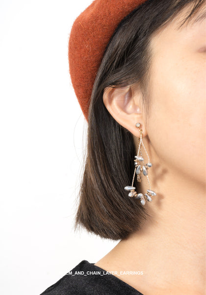 Gem And Chain Layer Earrings