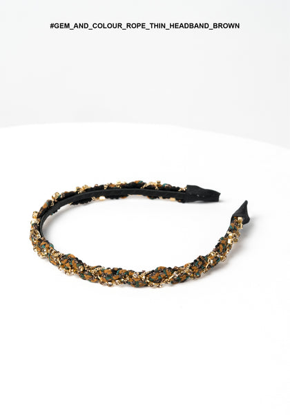 Gem and Colour Rope Thin Headband Brown - whoami
