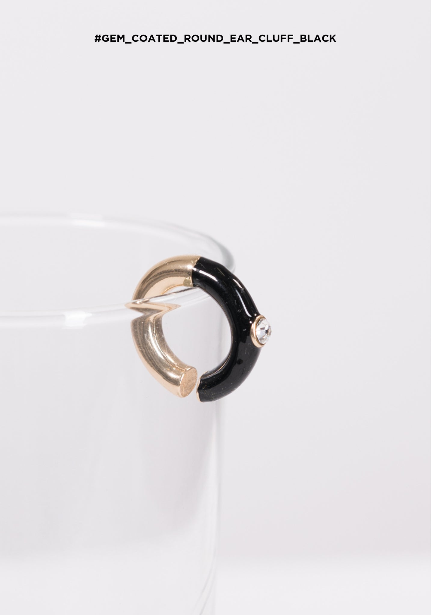 Gem Coated Round Ear Cuff Black - whoami