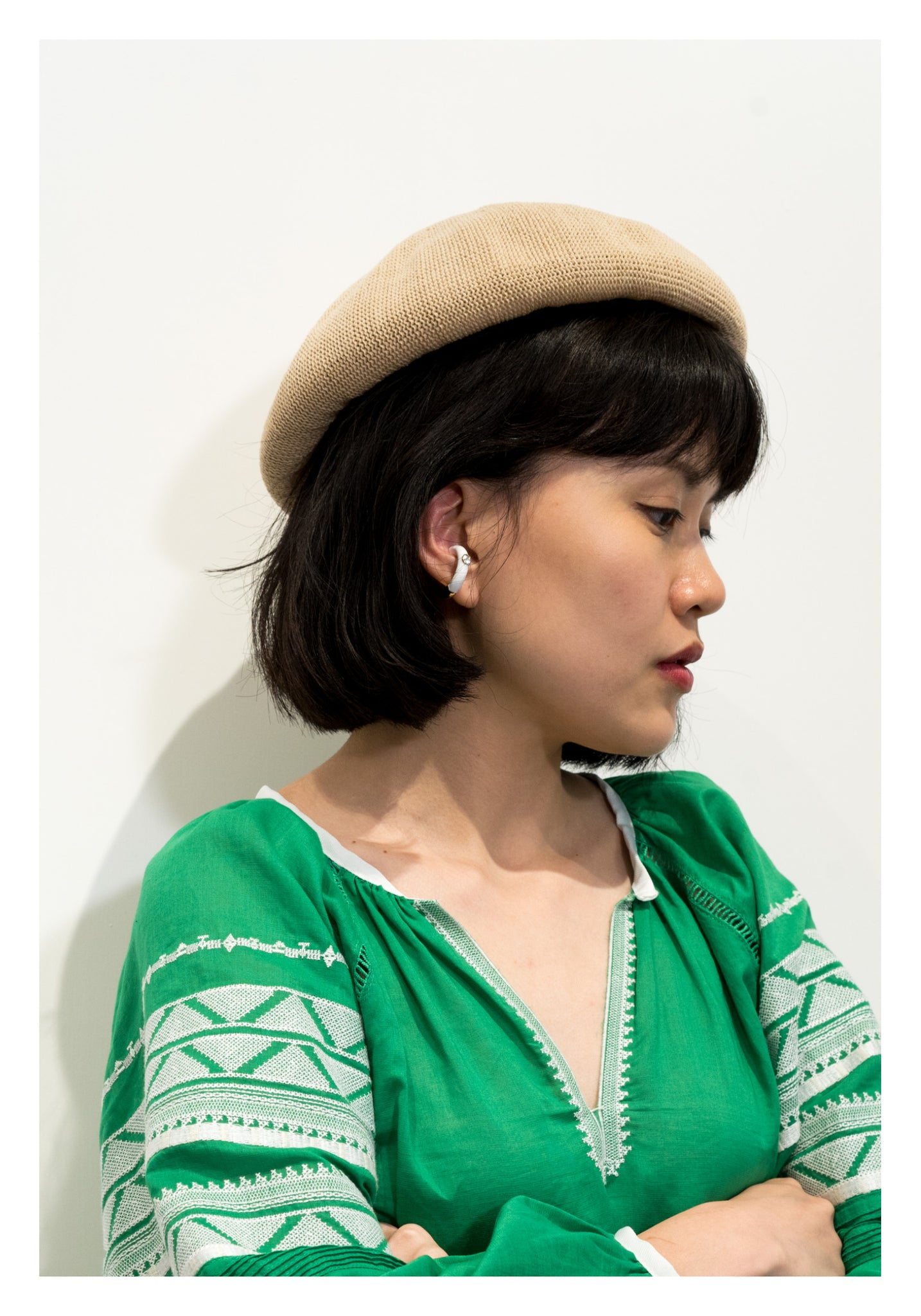 Gem Coated Round Ear Cuff White - whoami