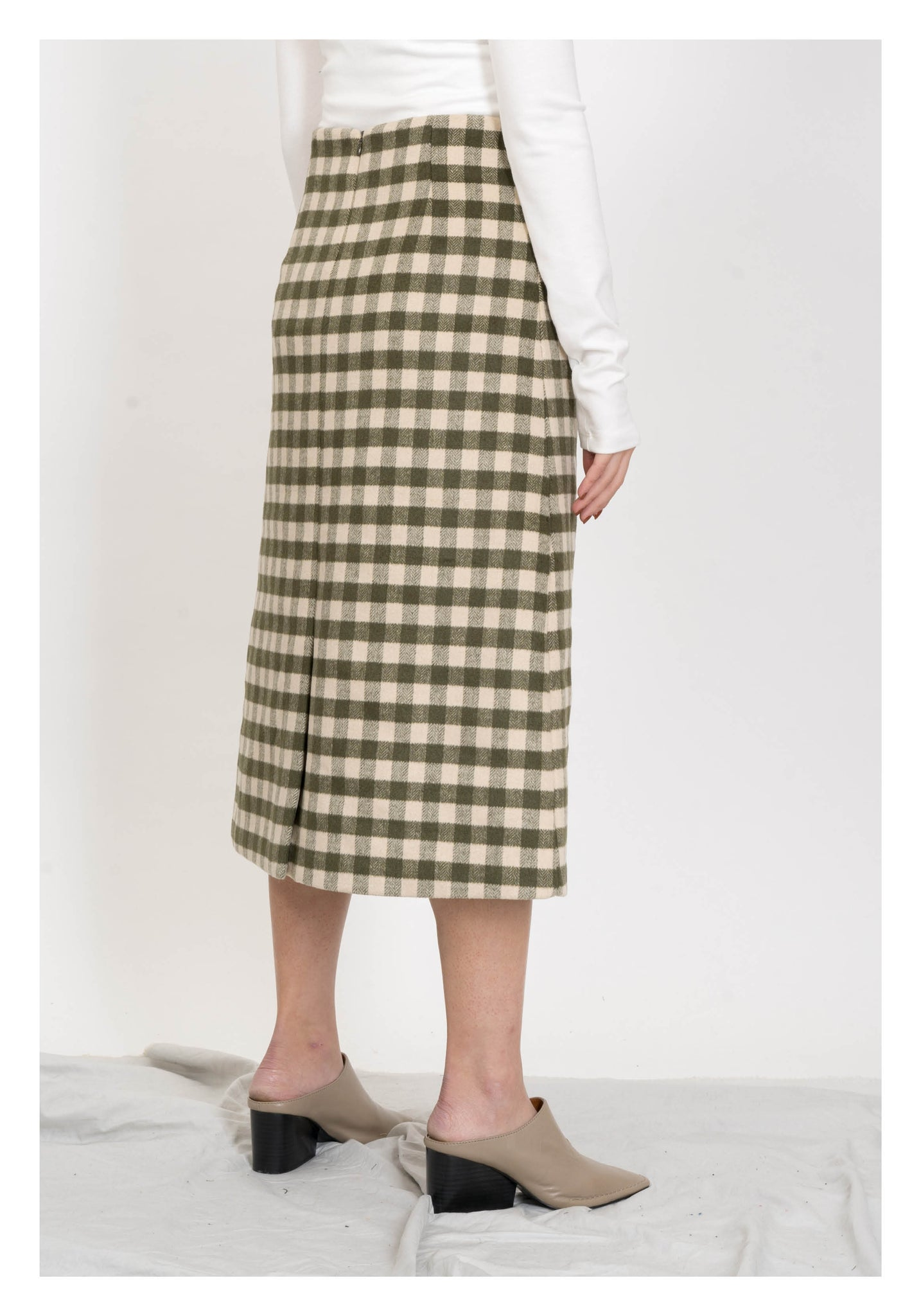 Gingham Wool Pencil Skirt Green - whoami
