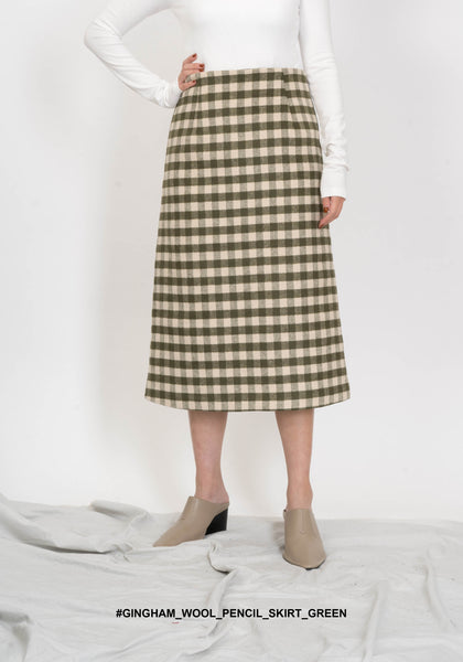 Gingham Wool Pencil Skirt Green